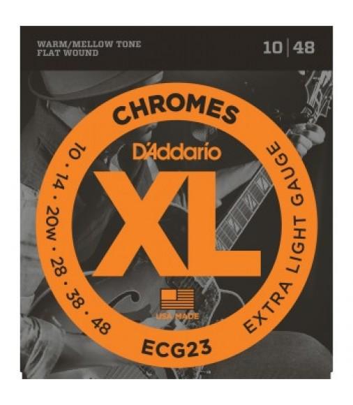 D'Addario ECG23 Flat Wound Electric Guitar Strings, Extra Light, 10-48