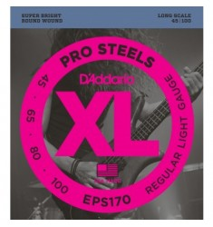 D'Addario EPS170 ProSteels Bass Strings, Light, 45-100, Long Scale