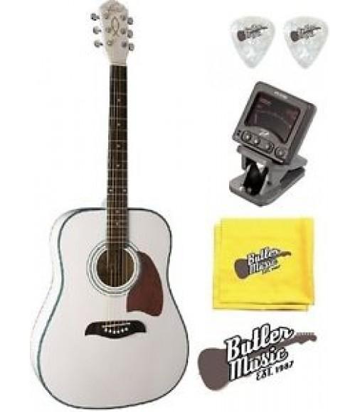 Oscar Schmidt OG2WH Acoustic Dreadnought Guitar w/Clip-on Tuner + More!!!