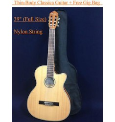 "39"" thin body Classical Acoustic-Electric Guitar Natural+Free gig bag,string set"