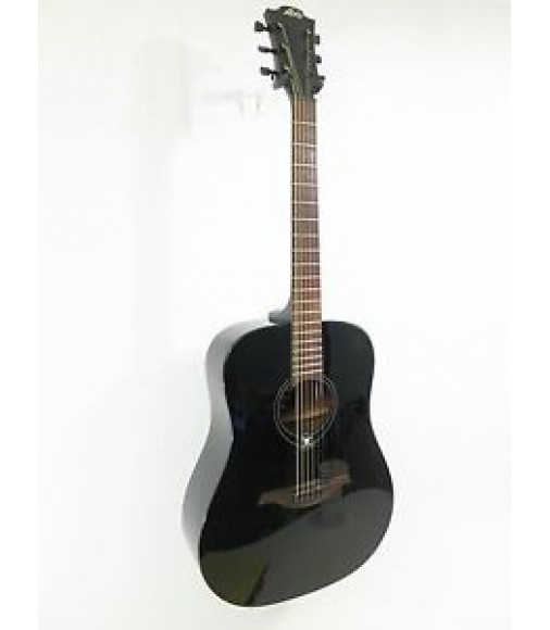 Lag Model DT66D - Dark Series Black Dreadnought Size Acoustic Guitar - NEW
