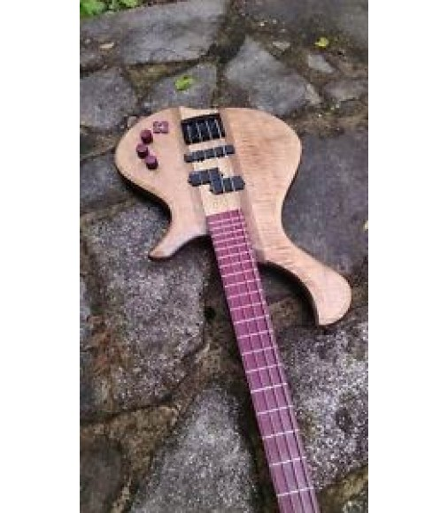 "32"" Scale custom bass guitar. Curly Maple top. Purple Heart fret-board."