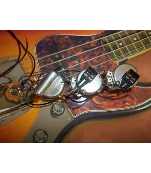 Jazz j style bass solderless guitar wiring harness kit