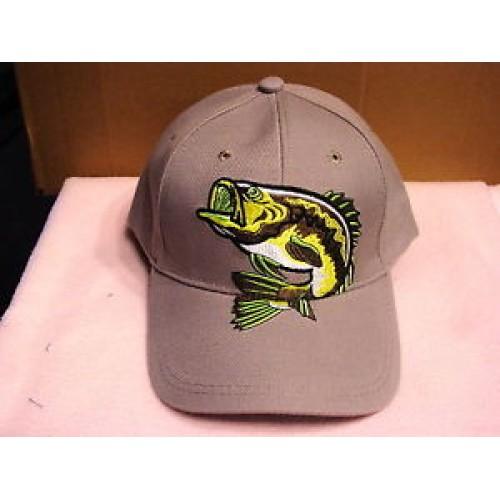 Big bass fish fishing outdoor baseball cap hat beige for Fishing baseball caps