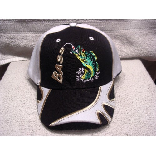 BASS FISH FISHING OUTDOOR BASEBALL CAP ( BLACK )