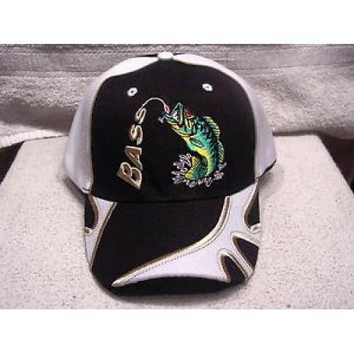 Bass fish fishing outdoor baseball cap black guitars for Fishing baseball caps