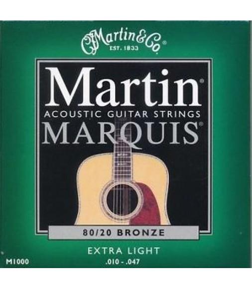 M1000 MARTIN MARQUIS 80/20 Cordes Pour Guitare Acoustique Bronze