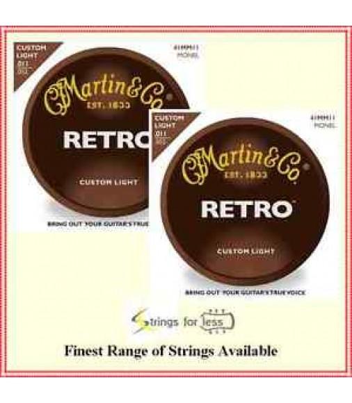 2 Sets Martin MM11 Retro Custom Light Monel Acoustic Guitar Strings 0.011-0.052
