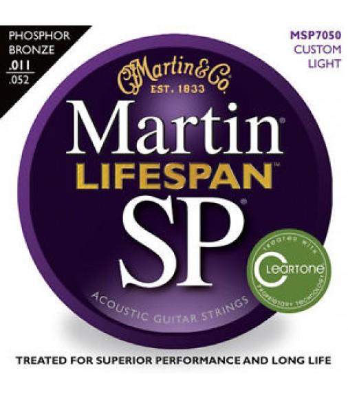 Martin MSP7050 Lifespan SP Phosphor Bronze acoustic guitar strings, Custom Light