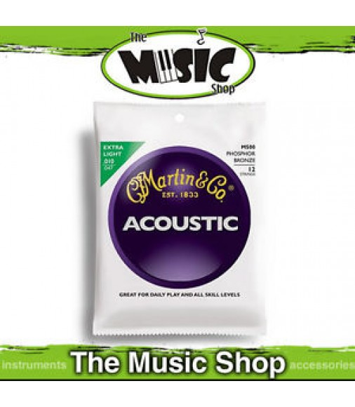 6x Martin 92/8 Phosphor Bronze 12-String Guitar Strings 10-47 Extra Light - M500