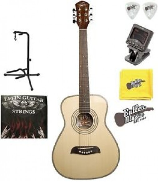 Oscar Schmidt OGHS 1/2 Size Natural Acoustic Guitar w/Picks, Strings + More!!!