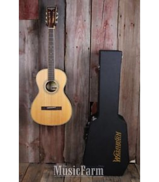 Washburn WP24SNS Traditional Parlor Acoustic Guitar Natural with Hardshell Case