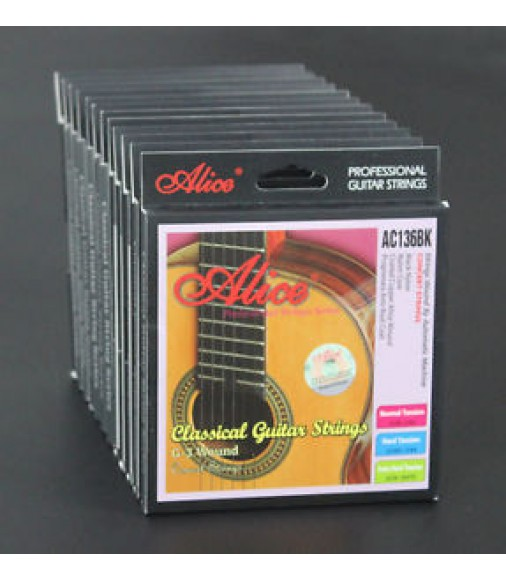 12 Sets AC136BK Black Nylon Hard Tension Coated Copper Classical Guitar Strings