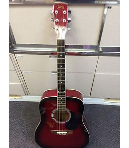 Corbin CG99RB Acoustic Guitar Red Black Burst Cherry with Hard Case 6 String