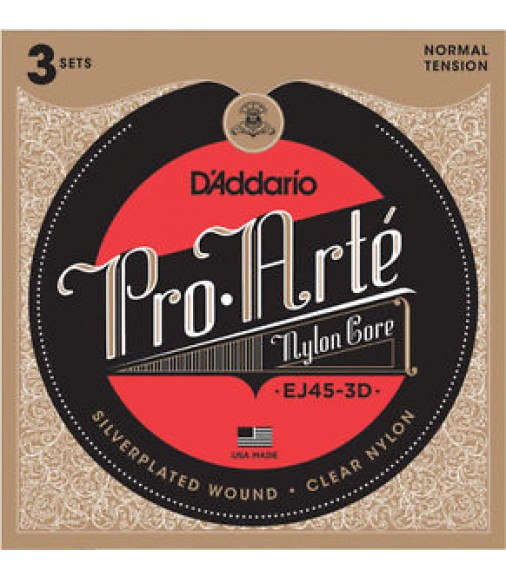 D'Addario EJ45-3D Pro-Arte Nylon Classical Guitar Strings Normal Tension 3 Sets