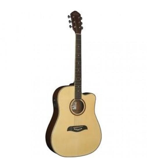 Oscar Schmidt OG2CE Dreadnought Cutaway Acoustic Electric Guitar Natural