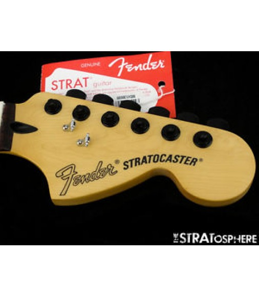 """Fender Deluxe Series Stratocaster NECK + LOCKING TUNERS Strat 12""""/ 6105 Rosewood"""