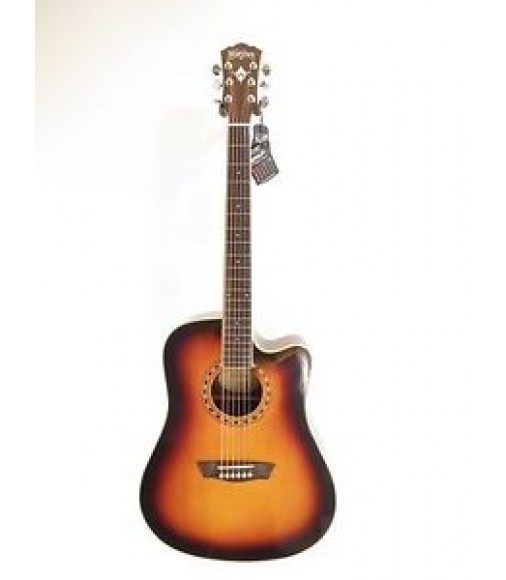 Washburn WD10SCEATB Solid Top Acoustic Electric Dreadnought Guitar - Blem #A397