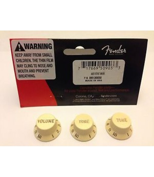 New Fender Stratocaster Strat Knobs Aged White 3 Pack 0991369000 099-1369-000