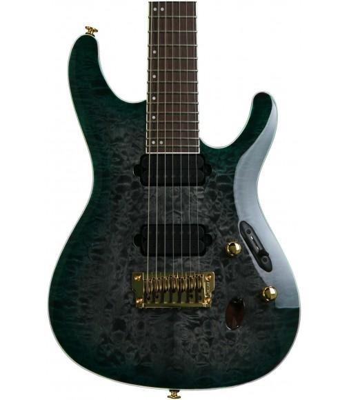 Dark Green Doom Burst, 7-string  Ibanez S5527QFX