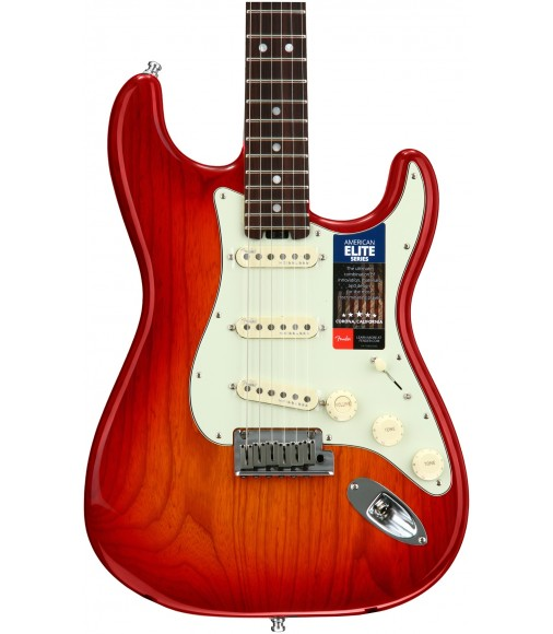 Aged Cherry Burst, Ash Body  Fender American Elite Stratocaster, Rosewood
