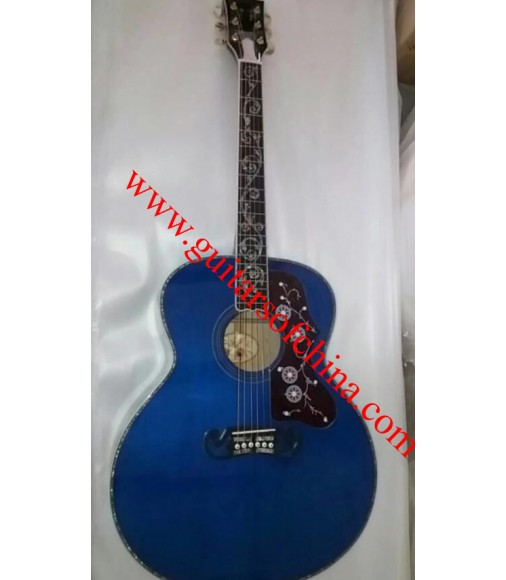 Chibson j200 acoustic guitar vine inlays-blue