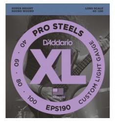 D'Addario EPS190 Pro Steels Bass Strings, Custom Light, 40-100