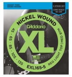 D'Addario EXL165 5-String Bass Strings, Light, 45-135, Long