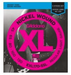 D'Addario EXL170-5SL 5-String Bass Guitar Strings, Light