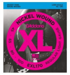 D'Addario EXL170 Wound Bass Strings, Light, 45-100, Long Scale