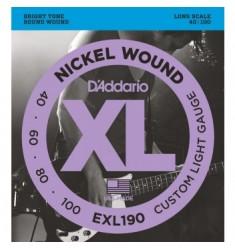 D'Addario EXL190 Wound Bass Strings, Custom Light, 40-100, Long Scale