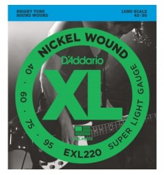D'Addario EXL220 Wound Bass Strings Super Light 40-95 Long Scale