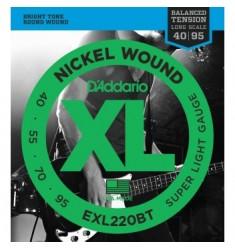 D'Addario EXL220BT Bass Guitar Strings, Super Light, 40-95