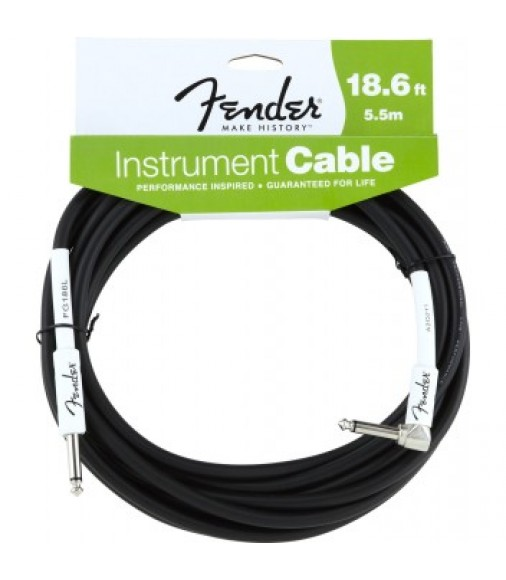 Fender 5.5m Performance Series Angled Instrument Cable Black