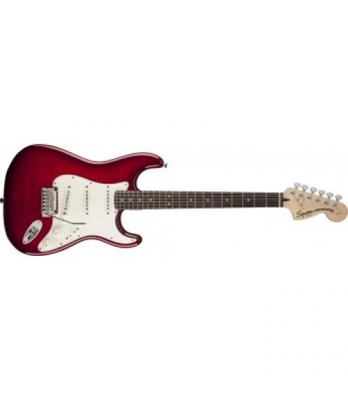 Squier Standard Strat FMT Electric Guitar Crimson Transparent Red